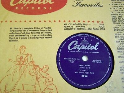 "THE FIVE KEYS 78rpm R&B "" OUT OF SIGHT OUT OF MIND & THAT'S RIGHT "" 1956 VG+VG++"