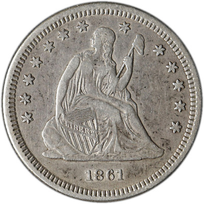 1861-P Seated Liberty Quarter - Civil War Date Great Deals From The Executive Co
