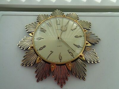Vintage Retro Metamec Sunburst/starburst Style Quartz Wall Clock