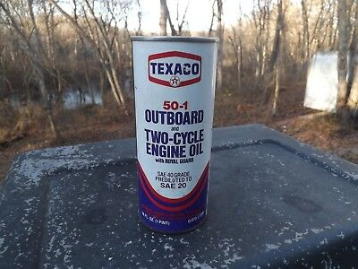 Vintage Texaco 50-1 Outboard Two Cycle Oil Can 1 Pint Full