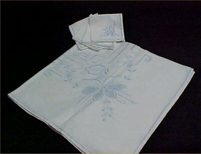 Vintage Tablecloth Napkin Set Blue Embroidery Drawnwork WWII Era Luncheon Size