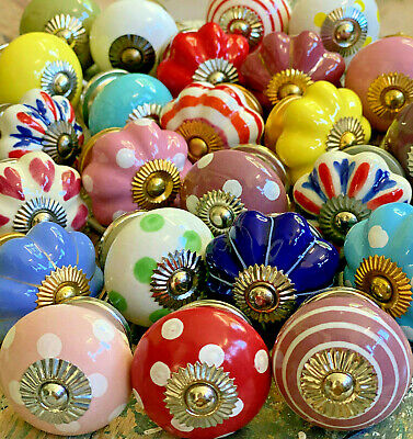 Door Knobs Ceramic Hand Painted Top Quality Cupboard Knobs in Sets of 10 to 16