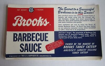 Wholesale Lot of 25 Old Vintage BROOKS Barbeque Sauce LABELS - Collinsville ILL.