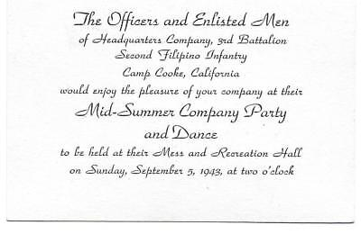 1943 Mid -Summer Company Party & Dance Camp Cooke CA 3rd Battalion 2nd Filipino