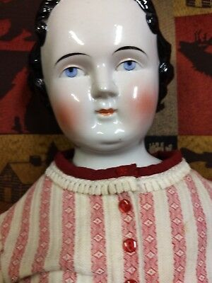 Large Antique China Head Doll High Brow Civil War 1860's unmarked