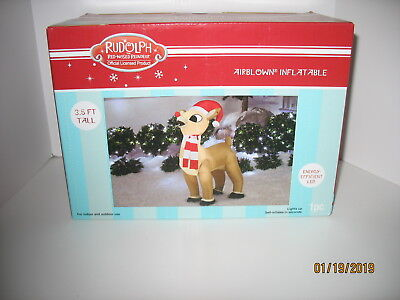 3.5 Ft Rudolph the Red Nosed Reindeer Airblown Inflatable Christmas Yard Decor