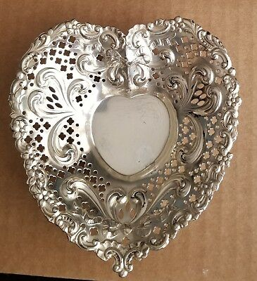 Gorham Chantilly 1900-1940 Sterling Silver Heart Shaped Candy Trinket Dish  #966