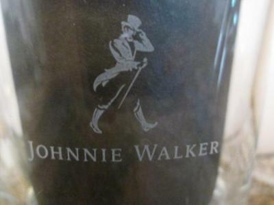 """JOHNNIE WALKER Etched Glass Tumblers Striding Man """"Cannot Be Beat"""", Set of 4"""