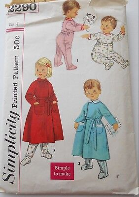 Vintage Simplicity Sewing Pattern Baby Toddler Footed Pajamas & Robes Size 1/2