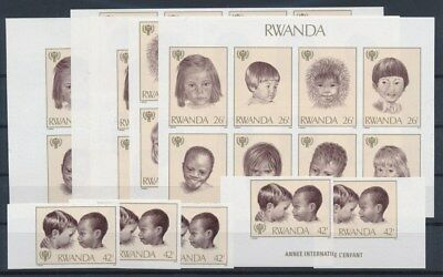 [G89599] Rwanda 5x good imperforated set Very Fine MNH stamps