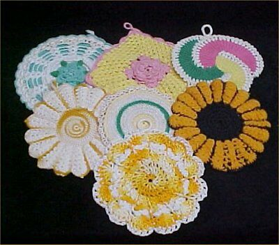 7 Vintage Antique Hand Crocheted Potholder Shabby 1940s Chic Mixed Variety LOT