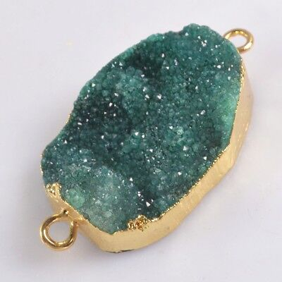 Green Agate Druzy Geode Connector Gold Plated H129177
