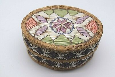 MicMac Mi'kmaq Indian Quill Birch Bark Sweetgrass Box Basket Native American