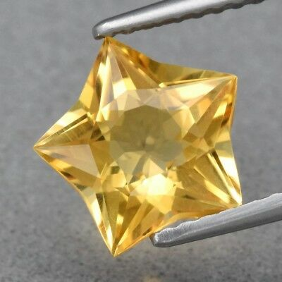 VS 1.76ct 8.7x8.6mm Star Natural Yellow Citrine, Brazil