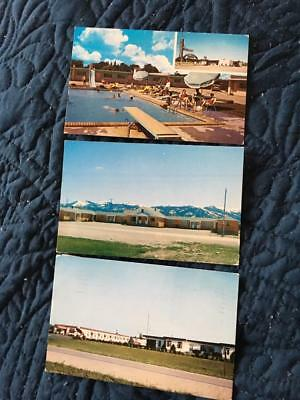 Lot of 3 vintage roadside motel postcards~Victor ID, Joplin MO, W. Burlington IA