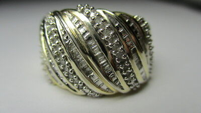 Sterling Silver Estate Vermeil Ross Simons Slanted Diamond Band Ring Size 6.5