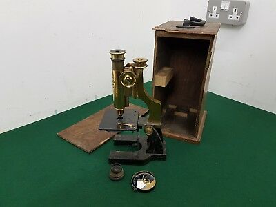 Antique Ernst Leitz Wetzler Brass & Metal 27.5 cm Microscope in Wooden Box