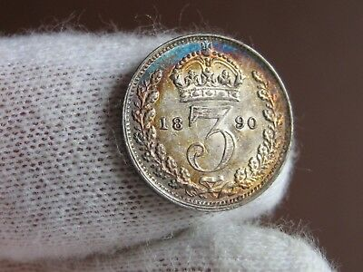 Lot of 3 Great Britain Coins:1871, 1884, and 1890 (prooflike) Silver 3 Pence!