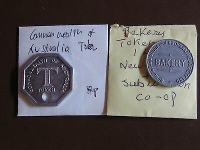 Lot of 2 Australia Tokens! Newcastle and Suburban 1 Loaf and Octagonal Token NR!