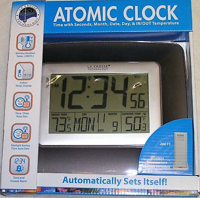 LaCrosse WS-8119U-IT-CHO Atomic Clock with Seconds, Month, Date, Day In/Out Temp