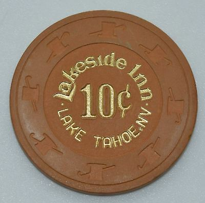 Lakeside Inn 10¢ Casino Chip Lake Tahoe Nevada H&C Paul-son Mold 1985