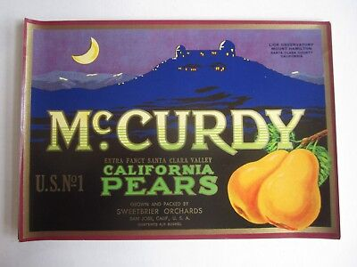 Wholesale Lot of 25 Old Vintage McCurdy PEAR LABELS Lick Observatory Mt Hamilton