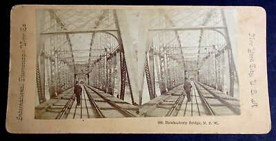 1890's Stereoview Card Of Hawkesbury Bridge N S W Australia Railroad