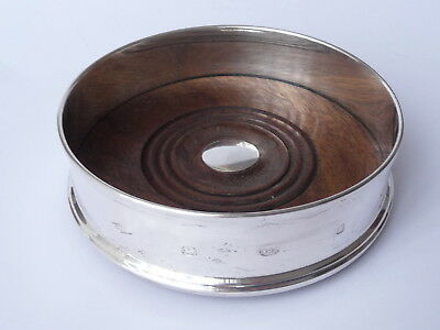 Sterling  Silver  And  Turned  Wood  Wine  Bottle  Coaster