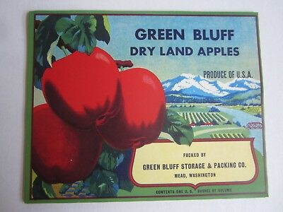 Wholesale Lot of 25 Old Vintage - GREEN BLUFF - Apple LABELS - MEAD Washington