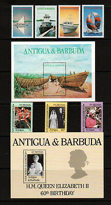 Antigua 1986 X 2 Sets, Queen's Birthday & Local Boats.  Mint