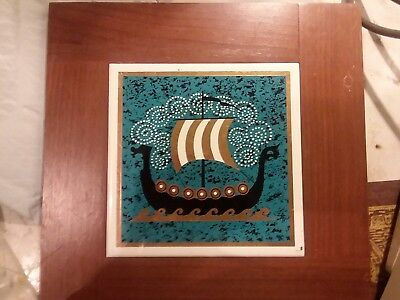 Antique Hand Painted Egyptian Tile Boat in Beautiful Oak Frame VERY RICH Colors