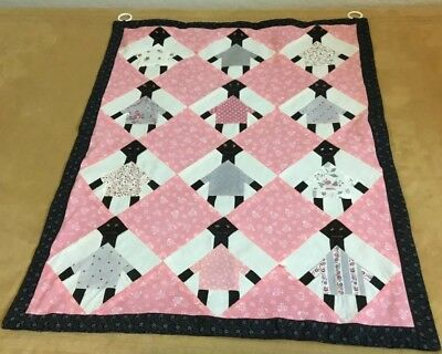 Vintage Patchwork Country Quilt Wall Hanging, Black Dolls, Floral Calico Prints