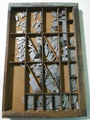 antique Printers Tray withType Setting Letters