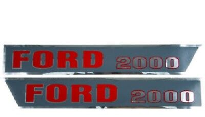 Hood Decal Set for Ford 2000 Tractor - 3 Cylinder Tractor with Square Hood