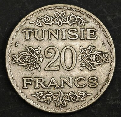 1934, Tunisia (French Protectorate), Ahmad Pasha Bey. Silver 20 Francs Coin. VF+