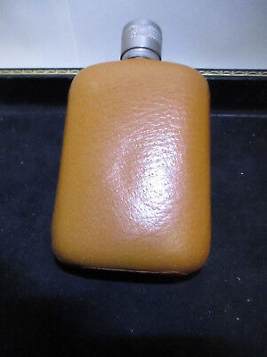 Vintage Glass Whiskey Flask Leather Cover Collectible Made in England