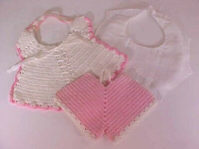 Baby Bibs Hand Crocheted White with PK Trim and WE Embroidered Batiste Lot of 3