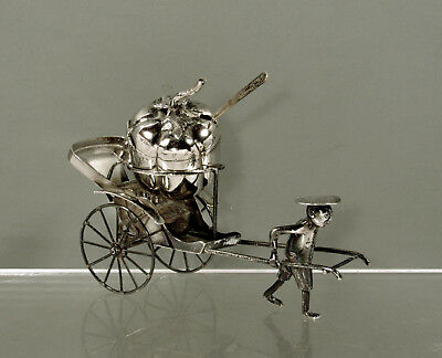 Chinese Export Silver Cruet Set    c1900 Tack Hing - Driver & Carriage