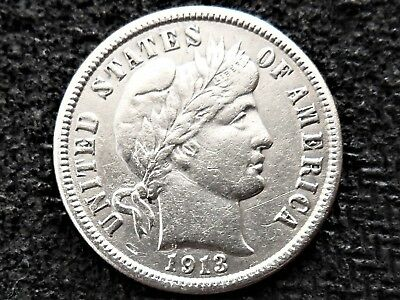 A 1913 Silver Barber Dime Very Nice Example!!