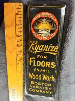 1900s VINTAGE BOSTON VARNISH CO/ KYANIZE TOC DOOR PUSH SIGN-NICE SHAPE-10x3.5!!