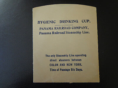 Vtg. Hygienic Paper Drinking Cup Panama Railroad Steamship Line