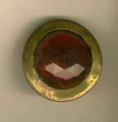 Antique Gay 90's Faceted Amber Glass Bridle Rosette