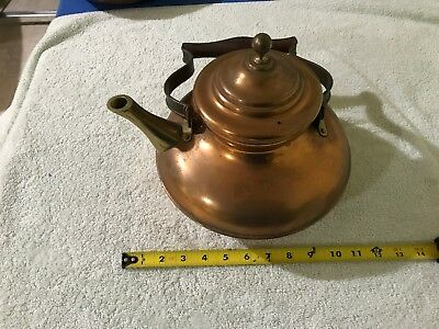 vintage Antique Hand Wrought Copper & Brass Tea Coffee Pot with wood Handle
