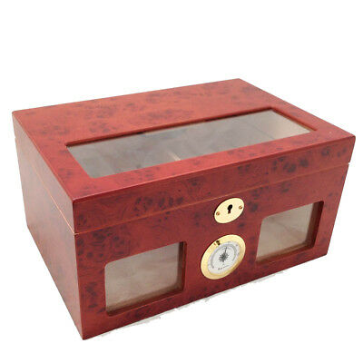 100 ct BURLWOOD CIGAR HUMIDOR - CLEAR TOP AND FRONT VIEW