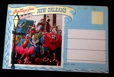 Vintage 1940s chrome postcard folder of Greetings from New Orleans