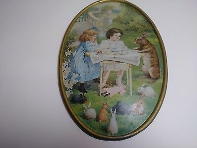 Compliments Of C D Kenny Co. Easter Tin Litho Advertising Wall Plaque