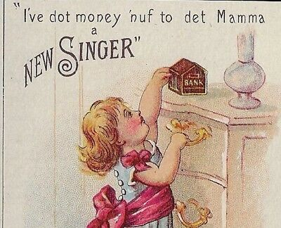 Victorian Trade Card - Singer Sewing Machines, The Singer Manufacturing Co.