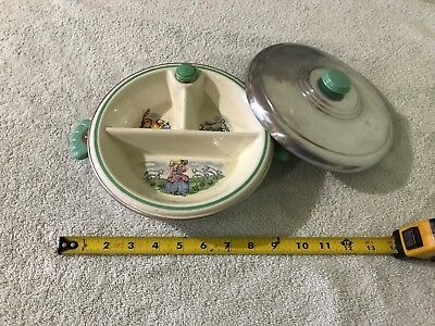 vintage Porcelain Divided Baby Food Warming Dish with Lid Dog Cat Little Bo Peep