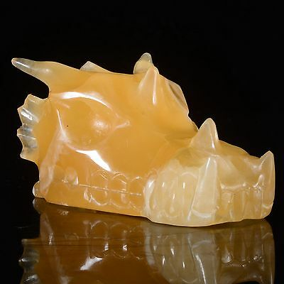 "2.87""Natural Yellow Calcite Hand Carved Dragon Skull,Reiki Healing #23Z05"