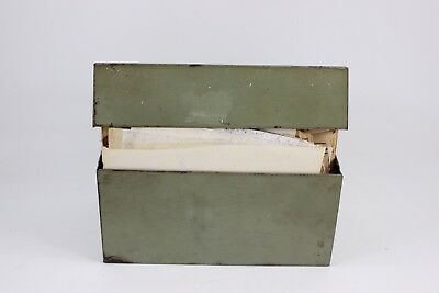 Huge Lot Of Vintage Recipes In Old Green Metal 3 X 5 Index Card File Box